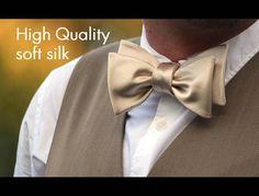 Mens bow tie Champagne Cream bow tie Natural Soft Pure silk