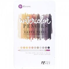 AKVARELLBLYANTER - PRIMA WATERCOLOR PENCILS - EARTH TONES Metallskrin med 12 akvarellblyanter fra PRIMA MARKETING.Prima Marketing-Mixed Media Watercolor Pencils. Use them with a wet brush or dip the pencil in water and draw! This package contains twelve watercolor pencils within one 7-1/2x4-1/2x1/2 inch tin case. Comes in a variety of assorted colors. Each sold separately.