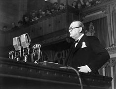 A Canadian Official portrait of Churchill addressing the Canadian Parliament on 30th December 1941. Winston Churchill's addressed the Canadian Parliament after traveling from Washington. He was on top rhetorical form and the speech became notable for his account of how the French had claimed that Britain was about to have her 'neck wrung like a chicken' in the dark days of 1940.