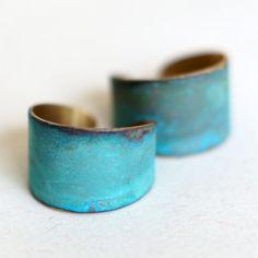 Blue Green Patina Verdigris Wide Brass Band Ring