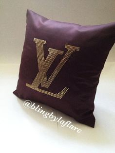 Designer inspired chocolate satin decorative handmade pillow couch/bed throw with crystals via Etsy
