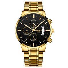 bb46b14c873 NIBOSI Mens Watches Top Brand Luxury Gold Watch Men Quartz Clock Full Steel  Strap Date Military Watch wrist Relogio Masculino