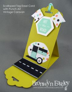 addINKtive designs: Scalloped Tag Easel Card with Punch Art Vintage Caravan