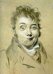 """Lopold Boilly 1761-1845), """"Grimacing Man"""" (Self-Portrait), c. 1822-23, Conté à Paris Crayons on Paper"""