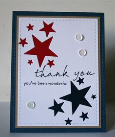 handmade thankyou card for Memorial Day negative space star groupings one backed with blue and the other with red luv this crisp look Handmade Thank You Cards, Greeting Cards Handmade, Military Cards, Military Veterans, Star Cards, Masculine Cards, Cute Cards, Creative Cards, Scrapbook Cards
