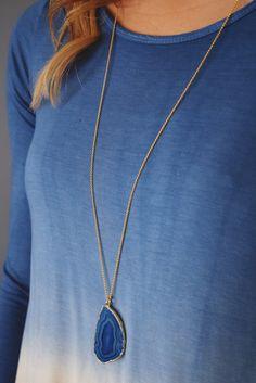 Columbine Agate Slice Necklace