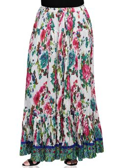 MULTI FLORAL CRUSHED COTTON SKIRT