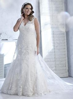 Lace A-line Detachable Sleeves and Lace-up Back Wedding Dress