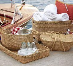 Basket for lavender: Jacquelyne Rope Handled Basket   Pottery Barn