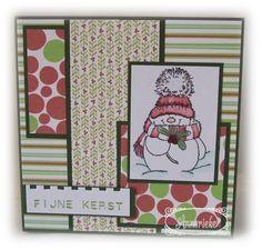 Kerstkaart, met Penny Black Jolly Friends Stempel ingekleurd met Stampin' Up! markers