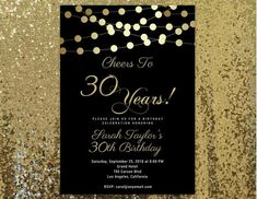 Cheers to 30 years Invitation, ANY AGE, Surprise 30th Birthday Invitation, Cheers to 30, 30th Birthday Invitations for Women