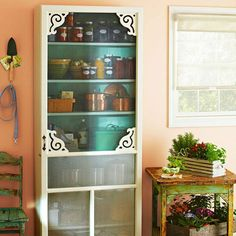 Look at this, Take an old screen door and add it to a bookshelf for a unique display or pantry.   Edited- after many comments about finding an old screen door I wanted to mention that Lowes sells these screen doors for $50-$100.  Lowescreativeideas.com