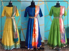 Come get our new floor length silk anarkalis with a Banarasi twist! Indian Attire, Indian Ethnic Wear, Indian Outfits, Indian Clothes, Frock Dress, Belted Dress, Mode Bollywood, Salwar Pattern, Ikkat Dresses