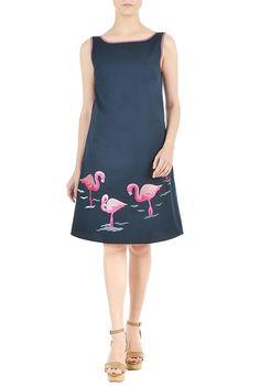 I <3 this Flamingo embellished poplin shift dress from eShakti