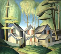 peira: Lawren Harris Summer Houses, Grimsby Park, Ontario via Art gallery of Nova Scotia Tom Thomson, Emily Carr, Group Of Seven Art, Group Of Seven Paintings, Canadian Painters, Canadian Artists, Harlem Renaissance, Landscape Art, Landscape Paintings