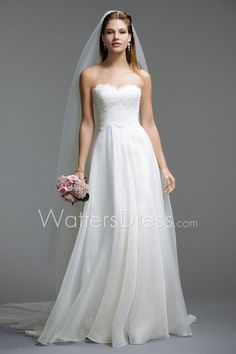 sweetheart neck scallop strapless lace covered bodice a-line wedding dress