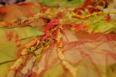couching stitches tulle and embroidery threads  detail by Katherine Peever