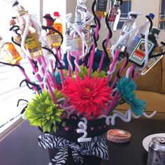 """Going Away Gift """"When we were told you were leaving, I heard nothing but booz!"""" I thought this would be kinda funny as a centerpiece but change the booze to wine :):"""