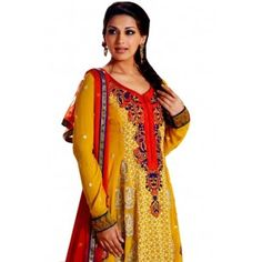 Shop Now - http://www.valehri.com/yellow-embroidered-designer-indian-salwar-suit-with-dupatta-601