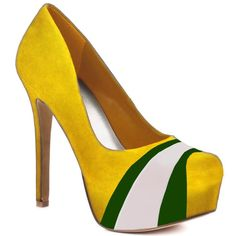 HERSTAR™ Yellow Green White Team Color Suede Pumps. Use promo code KKM$10 to save $10 off $79.99 at checkout!