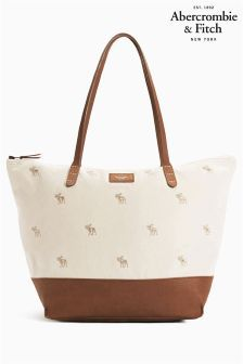 Cream & Black Abercrombie & Fitch Logo Tote
