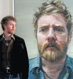 Musician Glen Hansard standing in front of 'Thread of Light', the portrait of him painted by Belfast artist Colin Davidson. Love this painting and its Van Gogh vibe. Portraits, Portrait Art, Colin Davidson, Glen Hansard, Sketches Of People, Art For Art Sake, Historical Society, Along The Way, Contemporary Artists