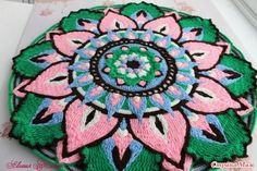 Rug \'November\' joint knitting, part 1 - Country of Mothers Crochet Applique Patterns Free, Potholder Patterns, Crochet Mandala Pattern, Crochet Circles, Crochet Blocks, Crochet Round, Crochet Doilies, Crochet Pillow, Tapestry Crochet