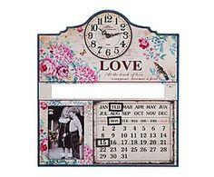 Reloj calendario de madera DM y cristal