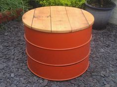 Reclaimed oil drum stool, seating, re-purposed, landscape design, landscape architecture