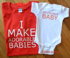 I Make Adorable Babies Adorable Baby Set for Father Daughter or Father Son Fathers Day Totally Customizable pick your colors on Etsy, $35.00