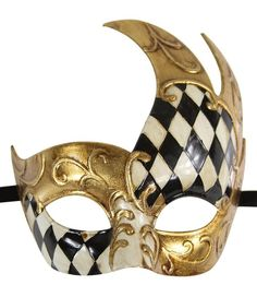 Luxury Mask Men's Vintage Design Venetain Prom Mardi Gras Musical Checkered Masquerade, Black/Gold Checkered, One Size
