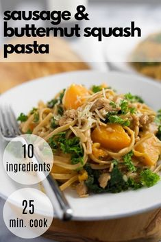 Butternut Squash Linguine Pasta is filled with whole wheat pasta, sweet Italian turkey sausage, kale, butternut squash and brought together with creamy gruyere cheese! A perfect fall dinner. Easy Clean Eating Recipes, Healthy Pasta Recipes, Healthy Pastas, Low Calorie Pasta, Sweet Potato Dishes, Butternut Squash Pasta, Recipes With Few Ingredients, Healthy Weeknight Dinners, Fall Dinner Recipes