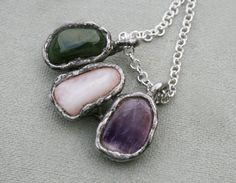 quartz pendant amethyst pendant jasper by Blacksmithworkshop