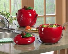 Ceramic Apple Shaped Compost Crock ...  Awesome kitchen decor and functional at the same time.