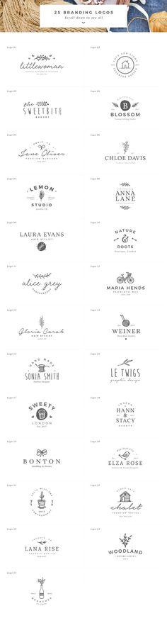 25 Delicate Feminine Logos - Vol 2 by Davide Bassu on @creativemarket #logo #brand #branding #design #template #creative #feminine #delicate #floral #ideas #inspiration #digitalart #creativemarket