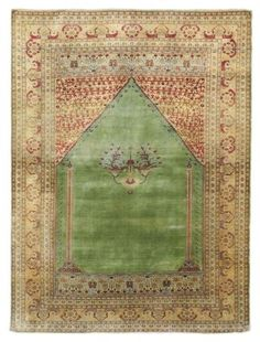 SILK TABRIZ PRAYER RUG  NORTH WEST PERSIA, CIRCA 1890  A couple of small areas of wear and corrosion, one faint stain and a minute split, selvages missing, ends secured, slightly dry structure 5ft.6in. x 4ft.1in. (168cm. x 124cm.)