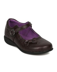 School Rider FB51 Leatherette Bow Tie Mary Jane Uniform Shoe (Toddler Girl / Little Girl / Big Girl) - Brown Leatherette (Size: Big Kid 3)