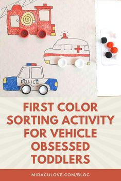 Emergency vehicles - police cars, ambulances and fire engines - have their very distinct colors so that inspired me to come up with a color sorting ve Sorting Activities, Color Activities, Hands On Activities, Toddler Activities, Learning Activities, Transportation Activities, Community Helpers, Toddler Play, Early Learning