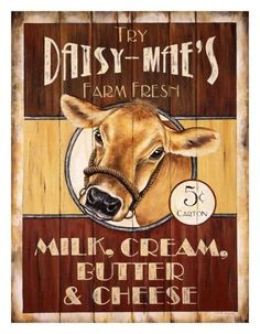 daisy mae's cow design wooden wall art - cool retro vintage wooden picture stores.ebay.com/bellsvintageboutique