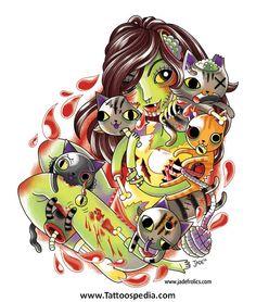 Jade Nellans Zombie Cats - little bit creepy Couple Tattoos, Justin Bieber, The Dreamers, Jade, Creepy, Cool Stuff, Drawings, Artist, Anime