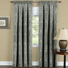 Sage.  Blackout Damask Curtain Panels. Elegant, pleated waterfall valances have beautifully matching drapes. Block out light and cool/heat to help save energy. Innovative design and luxurious style; perfect for your home living room, dining room, or bedroom. Also Available with Coordinating Waterfall Valence