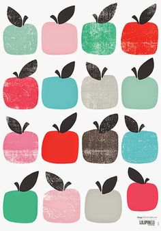 print & pattern, by Chloé Lefeuvre, apple, printmaking, texture, colour, fruit, food, illustration