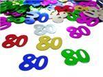 Number 80 Confetti, 80th Birthday Confetti in Bright Colors