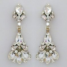 Large Teardrop Crystal Chandelier Earrings | Bridal chandelier ...