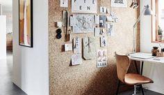 Wand van kurk op werkplek
