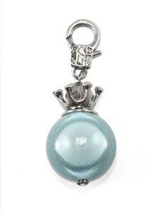 Damen Charm Anhänger Perle mit Krone, mint von Fashion Jewelry bei www.meinkleidchen.de