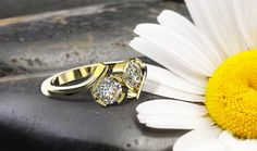 #DeVindt Oslo diamond ring with two 0.40 carat lab-created diamonds and 18 carat re-cycled yellow gold.