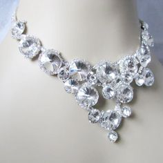Sparkle Statement Wedding Necklace in  silver tone and White Satin Ribbon Great Bridal Wedding Jewelry on Etsy, $45.00