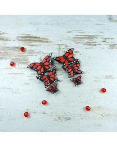 earrings wth butterfly, polymer clay fimo butterfly, handmade earrings, handmade jewelry, pracownia kameleon, biżuteria ręcznie robiona