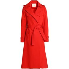 Maje Cotton-gabardine trench coat (5,780 EGP) ❤ liked on Polyvore featuring outerwear, coats, red, gabardine coat, long sleeve coat, red trench coat, cotton trench coat and gabardine trench coat